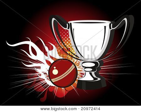 abstract background with trophy and leather ball, vector illustration