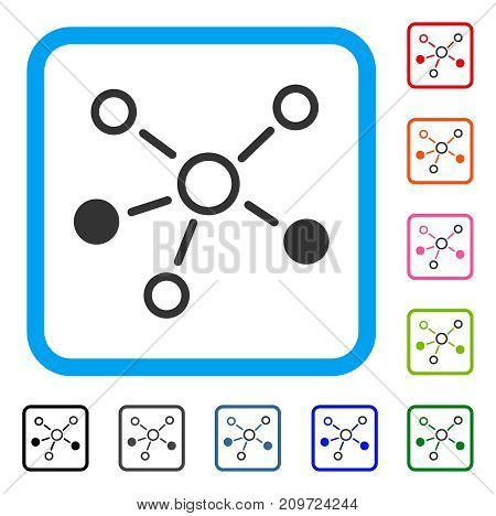 Relations icon. Flat grey pictogram symbol in a light blue rounded frame. Black, gray, green, blue, red, orange color additional versions of Relations vector.