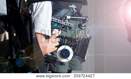 Blurry Image Of Movie Shooting And Light Flare.