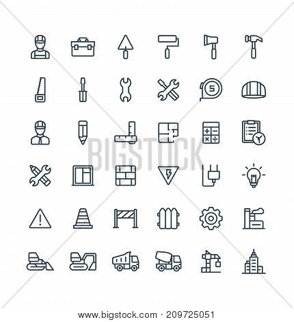 Vector thin line icons set and graphic design elements. Illustration with construction, industrial, architectural, engineering outline symbols. Home repair tools, worker, build linear pictogram