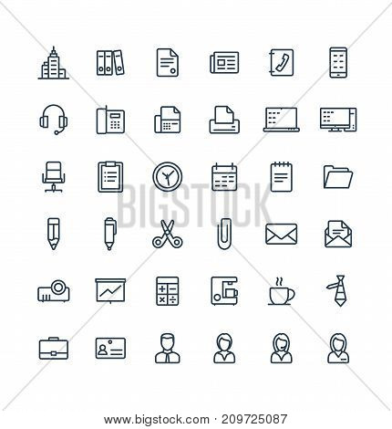 Vector thin line icons set and graphic design elements. Illustration with business and office tools outline symbols. Documents, newspaper, telephone, fax, chair, projector screen linear pictogram