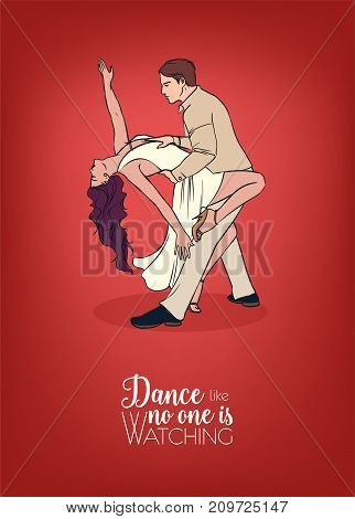 Bright colored poster template with pair of man and woman dressed in elegant clothing and dancing choreographed stage Argentine tango and inscription. Beautiful partner dance. Vector illustration