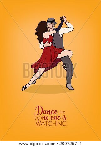 Colorful poster template with couple of dancers dressed in elegant clothing and demonstrating Argentine tango figure. Pair of man and woman performing gorgeous passion dance. Vector illustration