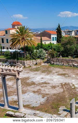 ATHENS, GREECE - JUNE, 2011: View of remains of ancient Agora next to Acropolis. Famous historical location