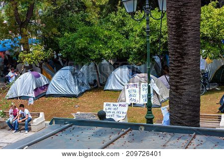 ATHENS, GREECE - JUNE, 2011: Tents and placards of people on strike