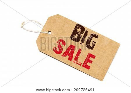 A Brown Paper Label With The Text  Big Sale Written In It Against A White   Background