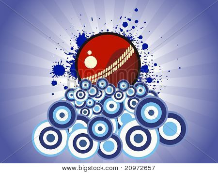 abstract blue grungy rays, circle background with isolated cricket ball, vector illustration
