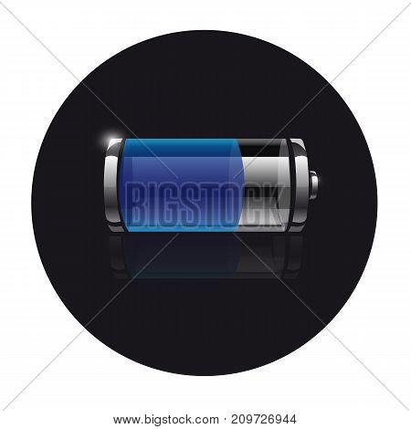 Icon battery on a black background with reflection