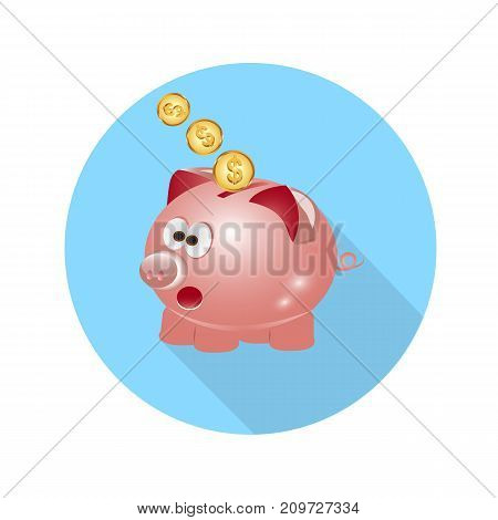 icon pig piggy bank with coins long shadow