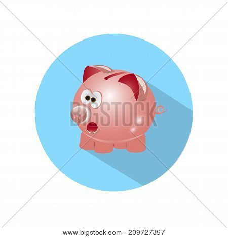 Icon Pig piggy bank with long shadow