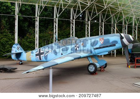 Moscow Russia - July 19 2017: Messerschmitt Bf 109 fighter (Germany) on grounds of weaponry exhibition in Victory Park at Poklonnaya Hill.