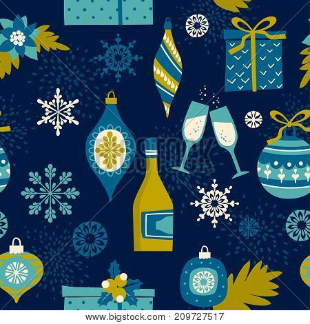 Vector seamless pattern with Christmas symbols. Trendy vintage style.
