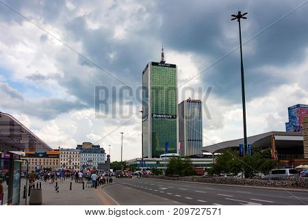 WARSAW, POLAND - JUNE, 2012: View of Centrum LIM skyscraper and Oxford Tower was finished in 1978 and was one of the first skyscrapers in Warsaw.