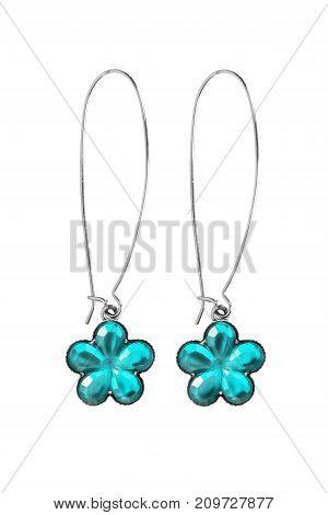 Elegant topaz flower shaped earrings on white background