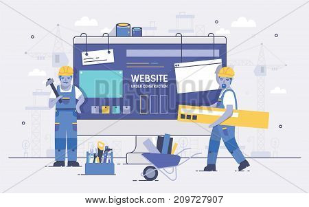 Two cartoon builders holding and carrying repair tools against computer screen on background. Concept of website under construction, web page maintenance or error 404. Colorful vector illustration