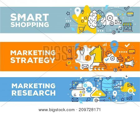 Smart Shopping & Marketing Strategy Concept On Color Backgrounds With Title.