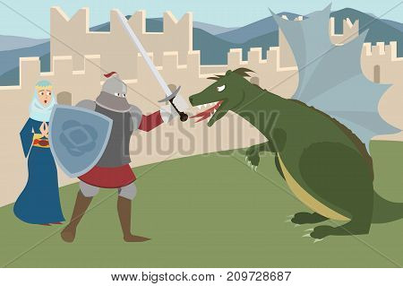 knight  fighting dragon, saving princess - funny  vector cartoon of manly behavior