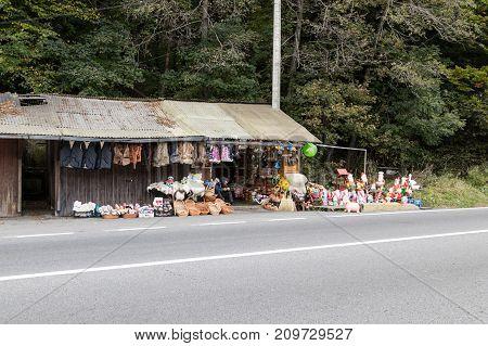 Prahova Romania October 04 2017 : A roadside souvenir market located not far from the city of Brasov in Romania.