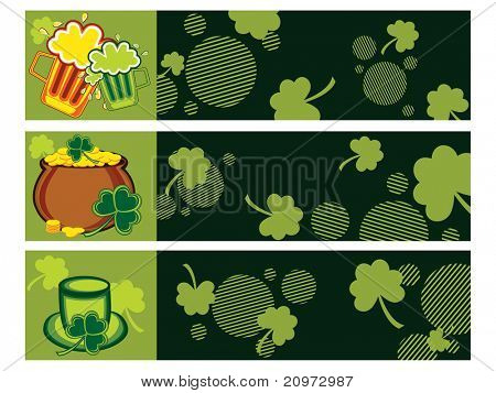 background with set of three happy st. patrick's day banner