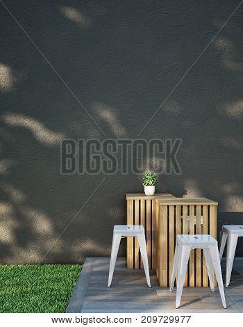 Modern chair set on Wood deck in the garden. 3d illustration