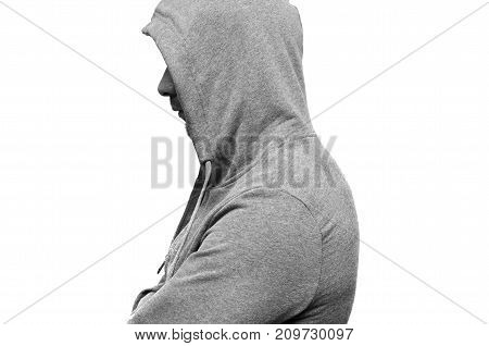 a man in a gray sports jacket with a hood