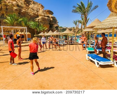 Sharm El Sheikh, Egypt - September 25, 2017: Tourists doing the animation game at hotel Dreams Beach Resort Sharm 5 stars at Sharm El Sheikh, Egypt on September 25, 2017