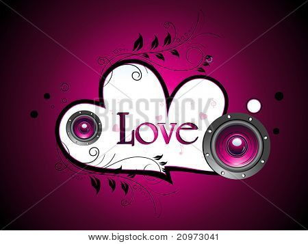 vector decorated romantic heart with musical instrument poster