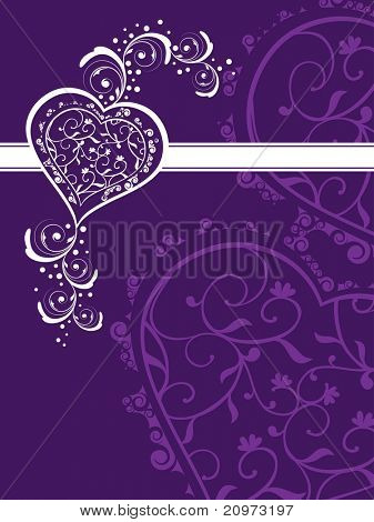 abstract purple creative artwork background with decorated heart poster