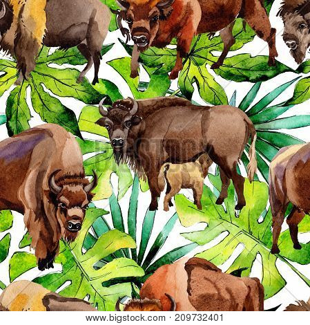 Exotic bison wild animal pattern in a watercolor style. Full name of the animal: bison, buffalo. Aquarelle wild animal for background, texture, wrapper pattern or tattoo.
