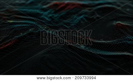 3d render abstract background with many small dots on dark background. Abstract digital technology background made of particles. Digital wave particles form for digital background.