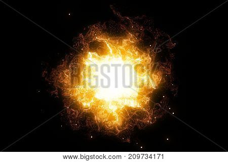 3D Rendering, Abstract Cosmic Explosion Shockwave Warm Gold Energy On Black Background
