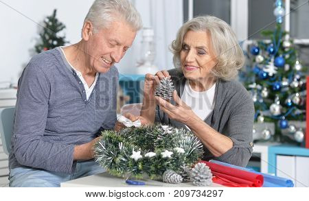 Portrait of happy senior couple preparing for Christmas at home