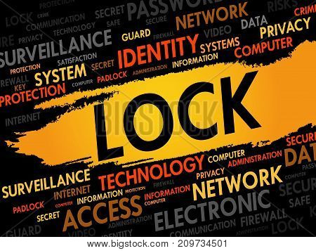 LOCK word cloud collage , security concept