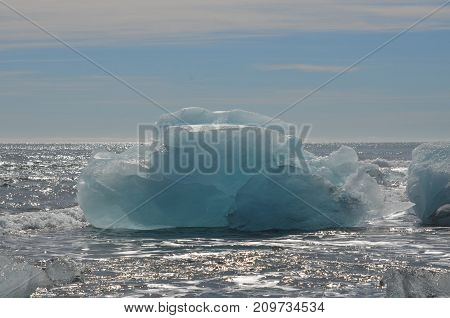 Beautiful iceberg in the icey waters of Iceland