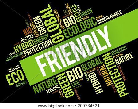 Friendly word cloud conceptual green ecology background