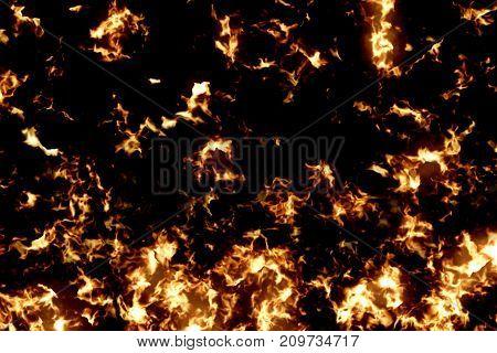 3D Rendering, Fire Flames Pattern Burn On Black Background, Dangerous Flame