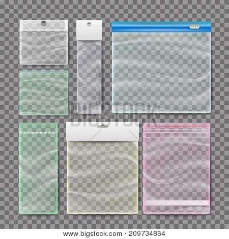 Plastic Pocket Bags Set Vector. Blank Vacuum Zipper Bag. Reclosable Resealable Zipper. Realistic Illustration