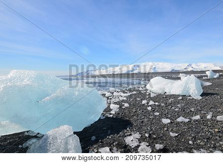 Appealing landsape of glaciers and icecap glaciers