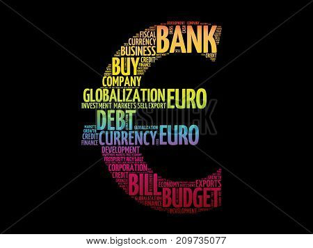 Euro sign word cloud collage business concept background