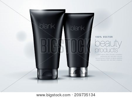 3d mock up illustration of black blank tube with silver lid
