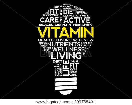 Vitamin Bulb Word Cloud Collage