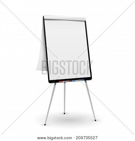 Flip Chart Vector. Office Whiteboard For Business Training. Isolated Illustration