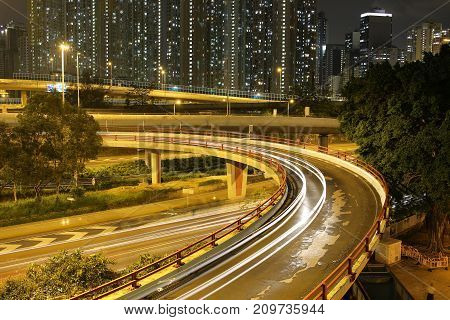Night View Modern City Traffic Of Highway And Bridge