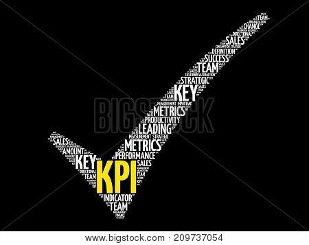 KPI - Key Performance Indicator check mark business concept words cloud