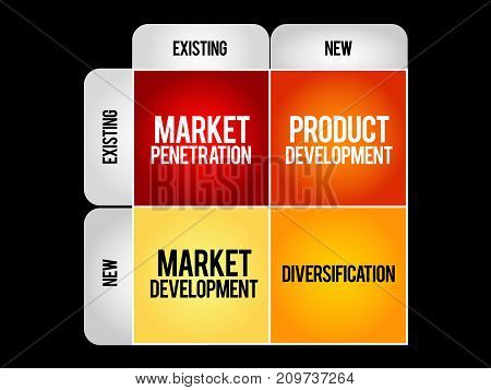 Market development strategy matrix , business concept
