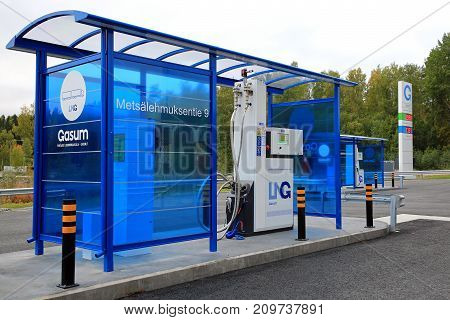JYVASKYLA FINLAND - SEPTEMBER 22 2017: LNG fuel dispenser for trucks on Gasum natural gas filling station for cars and heavy duty vehicles.
