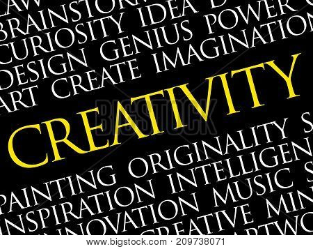 Creativity word cloud collage creative business concept background