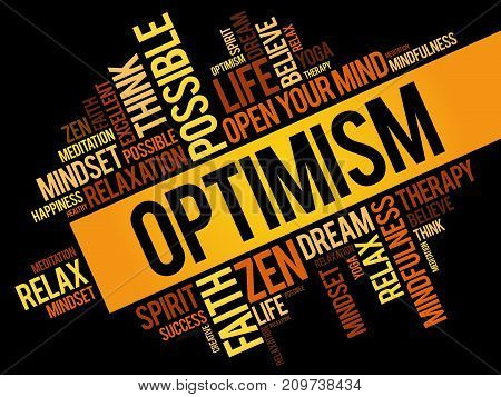 Optimism word cloud collage , concept background