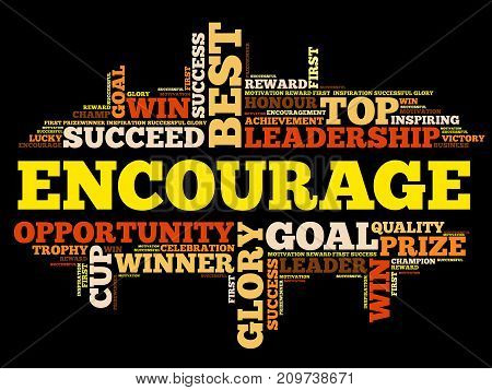 Encourage word cloud collage, business concept background poster