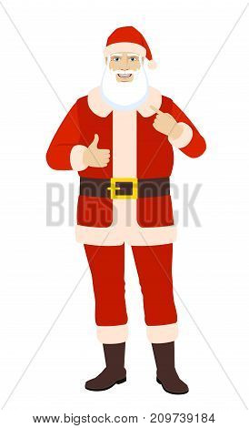 Santa Claus showing thumb up and pointing the finger at himself. Full length portrait of Santa Claus in a flat style. Vector illustration.